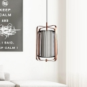 Cylinder Metal Hanging Ceiling Light Minimalist 1 Bulb Rose Red Finish Suspension Pendant