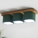 Minimalist Cube Flush Light Fixture Iron 3 Heads Living Room LED Flush Mount Lamp with Rectangle Wood Canopy in Green, Warm/White Light