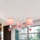 Pink Conical Pendant Light Fixture Korean Flower Fabric 3/6/8-Light Dining Room Chandelier Lamp with Dangling Crysta