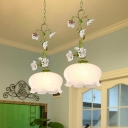 1-Light White Glass Pendant Lamp Korean Garden Green Scalloped Dining Room Hanging Light with Flower Design