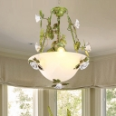 White Glass Bowl Ceiling Chandelier Korean Flower 2/3 Bulbs Living Room Hanging Pendant Light