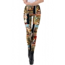 Unique Womens Mid Rise All Over Posters Print Ankle Length Stretchy Slim Fit Leggings in Black