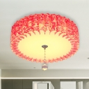 Pink LED Flush Mount Lamp Pastoral Acrylic Round/Loving Heart Ceiling Light with Crystal Ball in Warm/3 Color Light