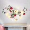 3/6 Bulbs Semi Flush Mount Lighting Korean Flower Spiral Cream Glass Flushmount Ceiling Lamp in Green