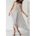 Casual Beach Girls Sleeveless V-Neck All Over Floral Printed Asymmetric Hem Maxi Swing Cami Dress in White