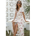 Ladies Boutique Short Sleeve Surplice Neck All Over Floral Printed Maxi Wrap Flowy Dress for Vacation