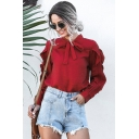 Fancy Girls Long Sleeve Bow Tie Neck Ruffled Trim Solid Color Loose Fit Blouse Top in Red