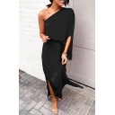 Elegant Womens Solid Color One Sleeve Asymmetric Neck Slit Side Maxi Shift Dress