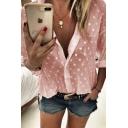 Leisure Womens Long Sleeve Lapel Neck Button Down Polka Dot Semi-Sheer Relaxed Fit Shirt