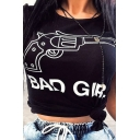 Cool Chic Black Short Sleeve Round Neck Letter BAD GIRL Gun Graphic Slim Fit Cropped Tee Top for Girls