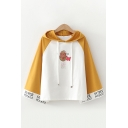 Unique Womens Bell Sleeve Drawstring Letter SUPER POTATO Potato Graphic Colorblock Relaxed Hoodie