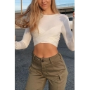Popular Chic Womens Long Sleeve Round Neck Criss Cross Slim Fitted Crop T Shirt in White
