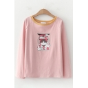 Lovely Girls Long Sleeve Round Neck Cat Printed Contrasted Relaxed Fit T-Shirt