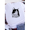 Popular Girls Rolled Short Sleeve Round Neck Letter COULD YOU NOT Cat Graphic Regular Fit T-Shirt