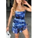 Sexy Street Womens Sleeveless All Over Floral Print Ruffled Trim Mini Sheath Cami Dress