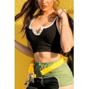 Hot Street Ladies Sleeveless Button Up Contrast Piped Fit Crop Tank Top in Black