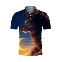 Leisure Mens Short Sleeve Lapel Neck Button Up 3D Wolf Printed Fitted Polo Shirt