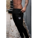 Simple Classic Drawstring Waist Logo Embroidery Cuffed Fitted Ankle Sweatpants