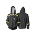 Cool Mens Long Sleeve Zipper Front Drawstring Stripe Flag Pattern Relaxed Hoodie