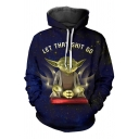 3D Cartoon Letter LET THAT SHIT GO Star Wars Costume Blue Drawstring Hoodie