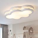 Iron Cloud Flushmount Modernist LED White Flush Light Fixture with Acrylic Shade in Warm/White Light, 26