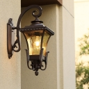 Metal Dark Coffee Wall Lighting Lantern 1-Bulb Lodges Wall Mount Sconce for Outdoor Corner