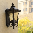 Acrylic Black Sconce Lighting Lantern 1 Light Rustic Wall Mounted Lamp for Outdoor Corner