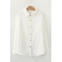 Trendy Ladies Long Sleeve Lapel Collar Button Down Solid Color Corduroy Curved Hem Relaxed Shirt
