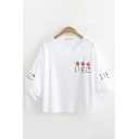 Simple Kawaii Girls Bow Tied Sleeves Round Neck Strawberry Japanese Letter Graphic Loose T Shirt