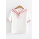 Preppy Looks Short Sleeve Sailor Collar Cat Embroidered Contrast Piped Relaxed Fit T Shirt