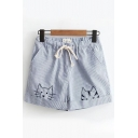 Fancy Girls Blue Drawstring Waist Cat Embroidered Stripe Printed Relaxed Fit Denim Shorts