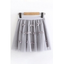 Pretty Cute Womens Elastic Waist Bow Tied Patched Mesh Mini Pleated A-Line Skirt