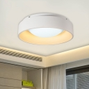 White Circular Flush Mount Lamp Simplicity Acrylic LED Ceiling Light Fixture for Living Room, 18