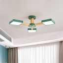Green Square Ceiling Flush Mount Simplicity Acrylic LED Semi Flush Light with Radial Design for Living Room
