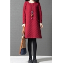 Casual Vintage Womens Solid Color Long Sleeve Round Neck Quilted Midi Swing Dress