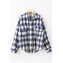 Womens Stylish Long Sleeve Lapel Neck Button Down Checkered Printed Flap Pockets Curved Hem Loose Shirt
