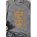 Casual Girls Roll Up Sleeve Crew Neck Letter I SOLEMNLY SWEAR Printed Regular Fit T-Shirt