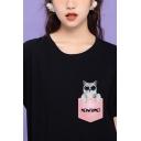 Chic Fashion Rolled Short Sleeve Crew Neck Letter MEOWSOME Pocket Cat Graphic Regular Fit T-Shirt