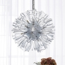 Minimal Flower Clear Glass Pendant Chandelier 19 Heads Hanging Light Fixture in White for Bedroom
