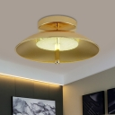 Dome Dining Room Flushmount Lighting Metal 1-Bulb Simplicity Flush Ceiling Light in Gold