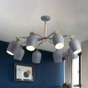 8-Head Living Room Flush Ceiling Light Minimalist Grey and Beige Semi Flush Mounted Lamp with Bud Iron Shade