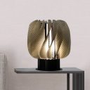 Acrylic Twisted Panel Nightstand Light Contemporary LED Amber Night Table Lighting for Living Room