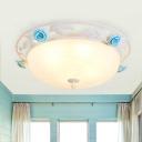 Romantic Pastoral Dome Flush Light White Glass LED Flush Mount Recessed Lighting with Blue Rose Decor