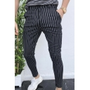 Casual Chic Mid Rise Stripe Printed Ankle Length Skinny Pants for Guys