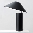 Aluminum Mushroom Desk Light Modernism LED Table Lamp in Black with Cylinder Iron Base
