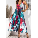 Glamorous Sleeveless V-Neck Allover Floral Pattern Twist Waist High Split Side Maxi Pleated A-Line Dress for Ladies