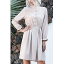 Fashion Womens Long Sleeve Stand Collar Button Up Corduroy Midi Pleated A-Line Dress in Khaki