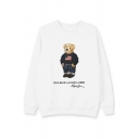 Fashionable Long Sleeve Crew Neck Letter Print Cartoon Bear Graphic Relaxed Fitted Pullover Sweatshirt