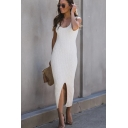 Stylish Sexy Ladies Sleeveless Round Neck Solid Color Slit Front Knitted Long Fitted Tank Dress