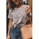 Cool Street Girls Short Sleeve Round Neck Leopard Printed Loose Fit T-Shirt in Khaki